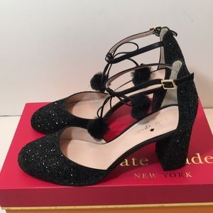 Kate Spade Black Glitter Nappa Sandals Size 6.5 M